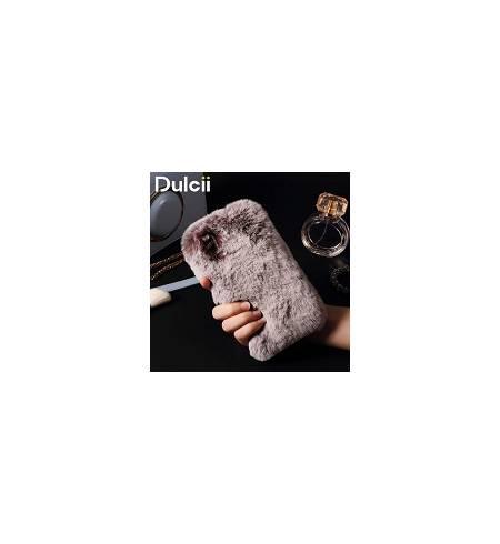 Накладки Чехол TPU бордовый Мех и камушки для iPhoneХ