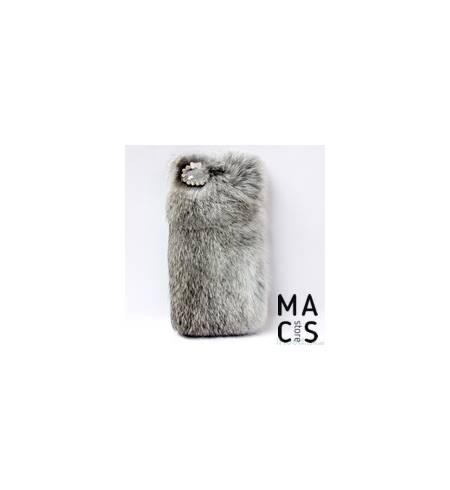 Чехол серый Мех и камушки для iPhone8Plus