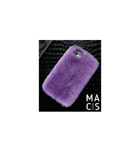 Чехол фиолетовый Мех и камушки для iPhone8