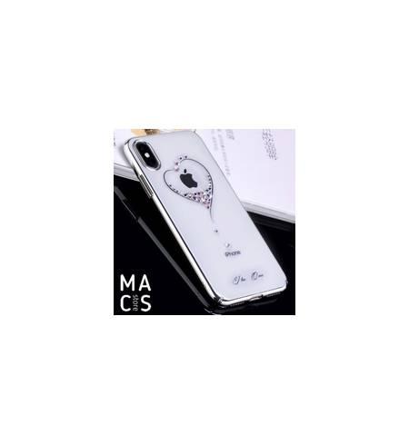 Чехол TPU пластик серебро Сердце камни Swarovski для iPhoneХ