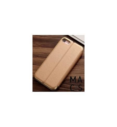 Чехол флип кожа золотой для iPhone XS