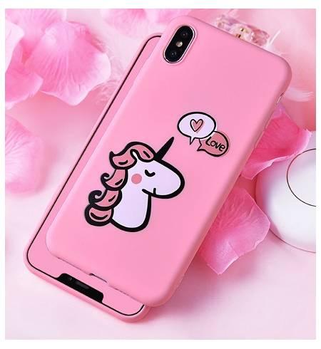 Чехол TPU розовый Единорог LOVE для iPhoneX