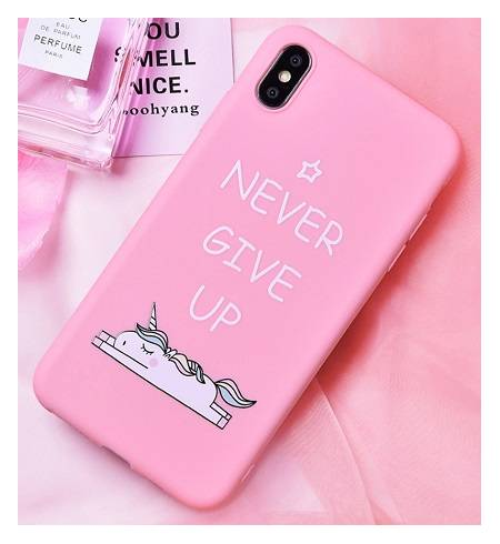 Чехол TPU розовый Единорог Never give up для iPhoneX