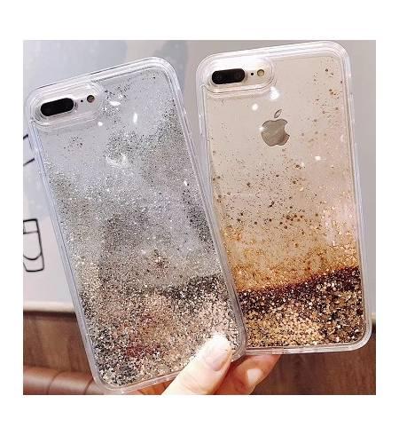 Чехол ТРU прозрачный Жидкое золото (серебро) для iPhoneХS MAX