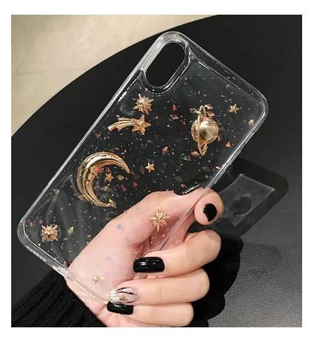 Силиконовые Чехол ТРU прозрачный Планета золото для iPhoneХS MAX