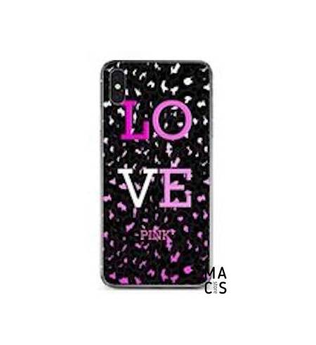 Чехол TPU черный градиент LOVE PINK для iPhone Xs