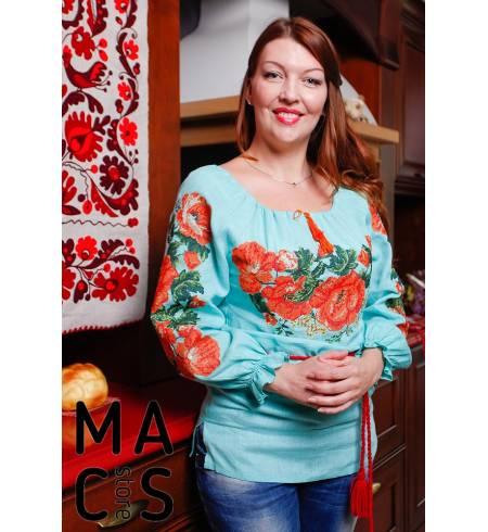 Женская вышиванка бирюзовая