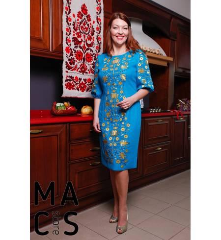 Женская вышиванка синяя