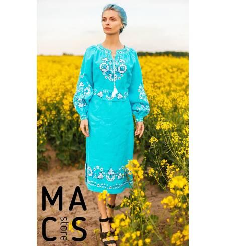 Вышитое платье бирюзовое