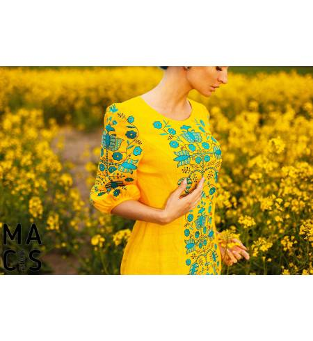 Вышитое платье желтое