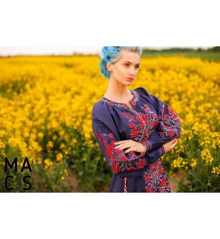 Вышитое платье фиолетовое