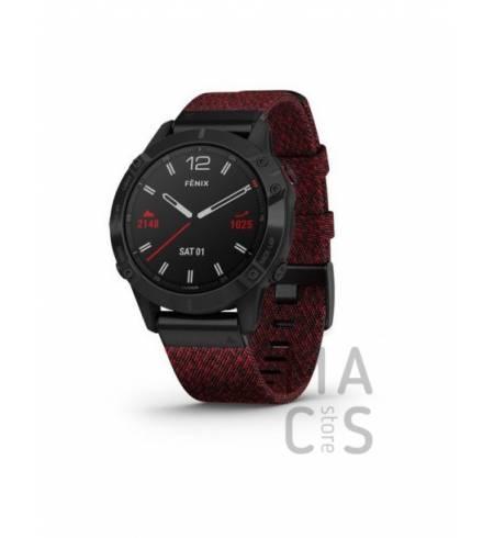 Garmin fenix 6 SAPPHIRE - Black DLC with Heathered Red Nylon Band