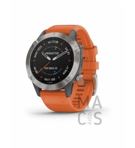 Garmin fenix 6 SAPPHIRE - Titanium with Ember Orange Band