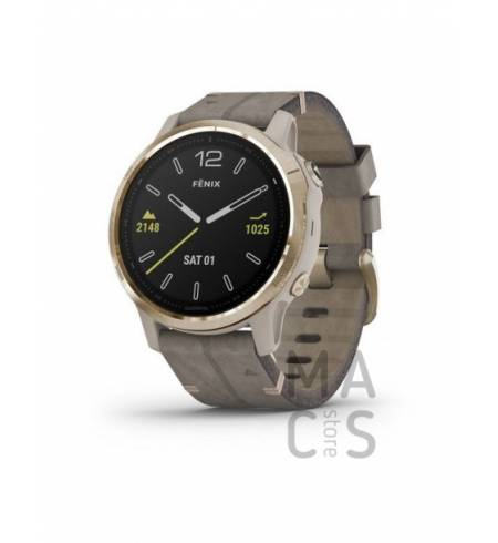 Garmin fenix 6S SAPPHIRE - Light Gold-tone with Shale Gray Leather Band