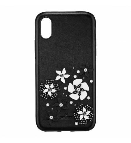 Чехол Swarovski кожа черный с цветами для iPhone X/XS