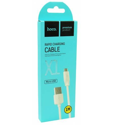 Кабель Hoco USB to Micro USB 1m White