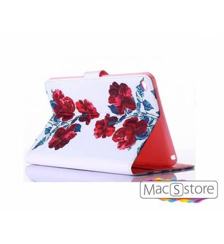 Чехол эко-кожа книжка белый розы для iPad mini4