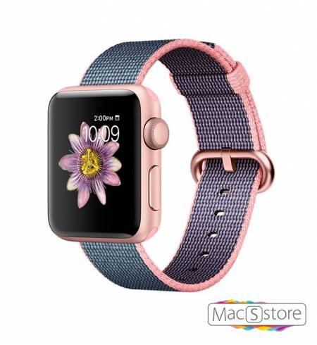 Apple Watch Series 2 38mm Rose Gold Aluminum Case with Light Pink/Midnight Blue Woven Nylon
