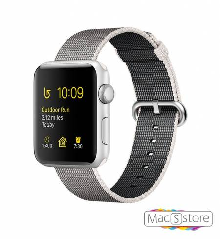 Apple Watch Series 2 38mm Silver Aluminum Case with Pearl Woven Nylon